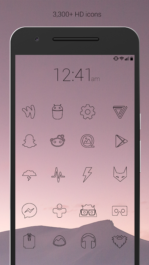 Lines Dark - Flat Black Icons Screenshot 1
