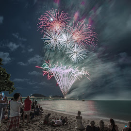 Palm Cove New Years Eve 2017 by Andy Rigby - Abstract Fire & Fireworks ( tropics, beach, nye, palm cove, fireworks,  )