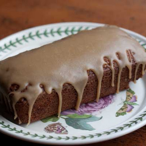 Applesauce Loaf Cake with Caramel Icing
