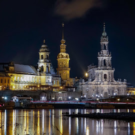 Dresden  by Robert Hohmann - City,  Street & Park  Skylines ( #dresden #skyline #night #water )