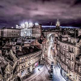 The Night Side by Adam Lang - City,  Street & Park  Night ( trailing light, lights, side, street, ddean street, newcastle )