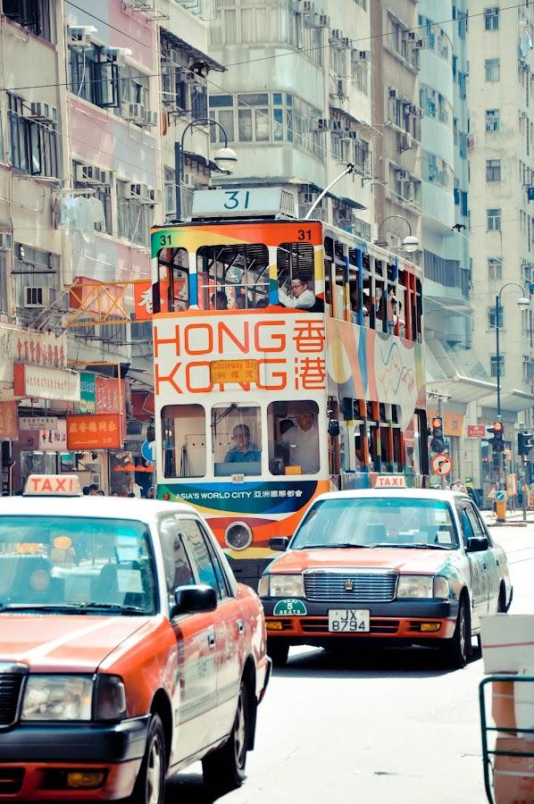 Busy Streets of Hong Kong by Rodel Flordeliz - City,  Street & Park  Street Scenes ( automobiles, hong kong, rodelflordeliz, tram )