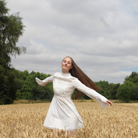 Swirl by Kelly Moore - Novices Only Portraits & People ( beauty, white, nature, model, wheat, dance )