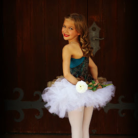 Ballet Rose by Sherie Lynn - People Musicians & Entertainers ( rose, wooden door, performer, children, ballet, dance, people, entertainer, dancer )