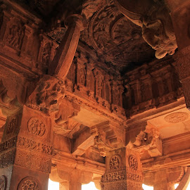 Ceilings of temples by Srivenkata Subramanian - Buildings & Architecture Architectural Detail ( stone carving, chalukya, aihole, karnataka, elephants, 8th century, india, ceilings )