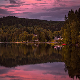 Quiet by Geir Blom - Landscapes Sunsets & Sunrises ( water, forest, lake, sunrise, boat )