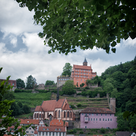 The Pearl of the Neckar valley by Johannes Oehl - City,  Street & Park  Skylines ( clouds, church, halftimbered hous, bergfried, house, hesse, neckar, tower, tree, river neckar, carmelites, germany, castle, hillside castle, town, odenwald, river, hirschhorn, abbey )