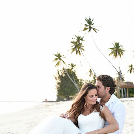 Beach Sand by Andrew Morgan - Wedding Bride & Groom ( love, weddingdress, kiss, zanzibar, palmtrees, wedding, paradise )