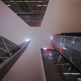 Going Vertical by Gary Piazza - Buildings & Architecture Office Buildings & Hotels ( sony, vertical, hong kong, skyscrapers, buildings, night, architecture )