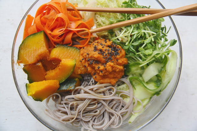 ... Sweet potato noodles with Kabocha Squash & carrot ginger miso dressing