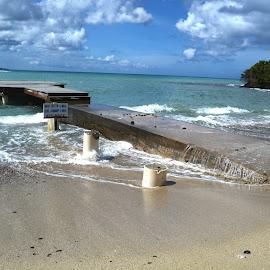 High Tide by Liz Rosas - Landscapes Beaches ( swamped, buccaneer, st. croix, awash, mermaid beach, dock, high tide, virgin islands )