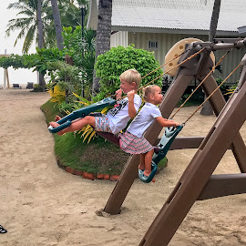 Flying by Geoffrey Wols - Babies & Children Toddlers ( seat, sand, swing, beach, playing, girl, boy, fun, kids,  )