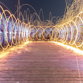 Steel Wool Light Painting by Martin Lowe - Abstract Light Painting ( lights, march, lutana, 7d, color, lightpainting, long exposure, night, jetty, steel, painting, light, wool, photography )