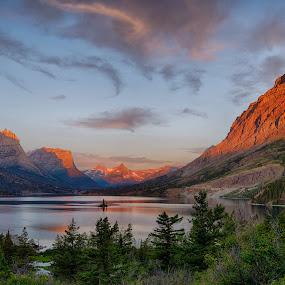 St. Mary's Lake at Sunrise by Gordon Banks - Landscapes Sunsets & Sunrises ( mountains, wild goose island, lake, sunrise, st. mary's lake, glacier national park )
