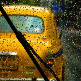 taxt by Suvajit Mukherjee - Abstract Water Drops & Splashes ( water, taxi, kolkata, rain )
