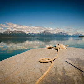 Motorboat on Lake Clark, Alaska by Kevin Beasley - Artistic Objects Other Objects ( motorboat, mountains, alaska, lake, water, boat, landscape )