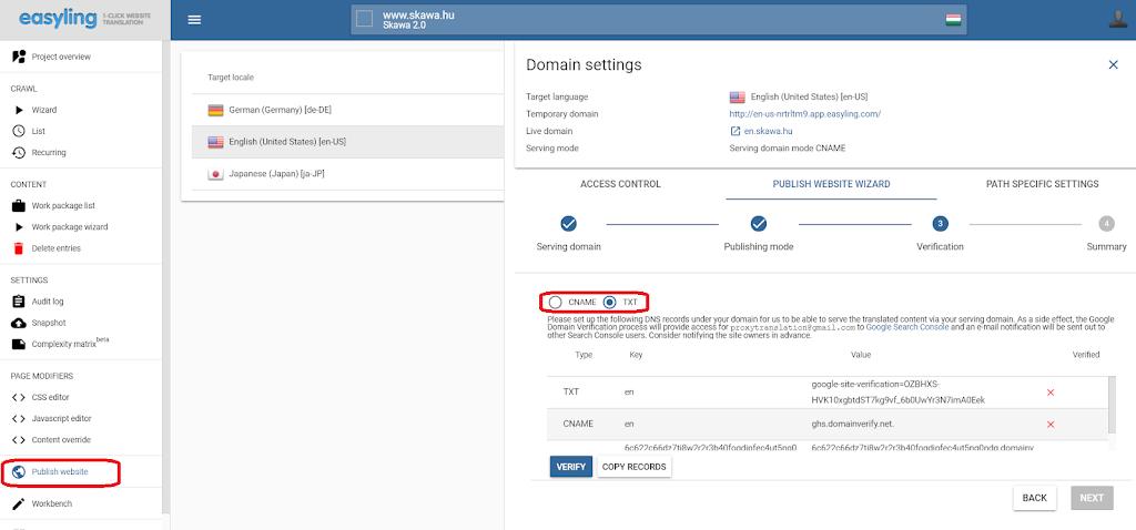 Publishing -domain settings Easyling