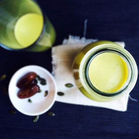Anti-inflammatory Golden Milk with Turmeric and Pumpkin Seed.