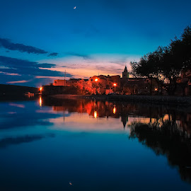 Pirovac in Blue Hour by Branko Meic-Sidic - City,  Street & Park  Street Scenes ( bluehour, hdr, colorful, waterscape, beautiful, dramatic, croatia, sea, pirovac )