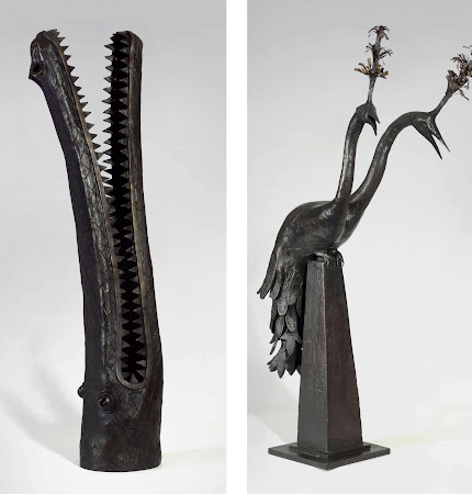 Crocodile Head and Two Headed Peacock Bronze James Mortimer