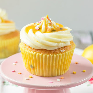 Lemon Cupcakes with Passion Fruit Coulis