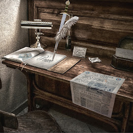 Pen is mightier than the sword. by Katherine Rynor - Digital Art Things ( pen, chair, newpaper, book, lamp, writing, postcard, desk, sword )
