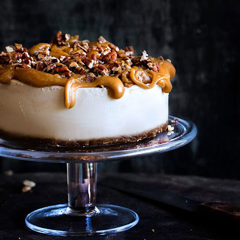 Lemon Cheesecake With Caramel Pecan Topping [Vegan, Gluten-Free]