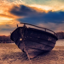 Boat by Maja Tomic - Transportation Boats ( clouds, sunrise, boat )