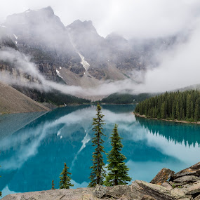 Moraine lake and valley of ten peaks #1 by Frank Barnitz - Landscapes Mountains & Hills ( water, mountains, fog, canadian rockies, trees, reflections, rocks, moraine lake, early morning )