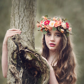 Child of Nature by Becky Wheller - Digital Art People ( fantasy, girl, green, ethereal, forest, woods, portrait, nature photo )