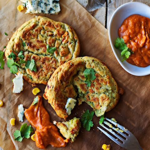 Blue-Cheese Avocado Cakes with Homemade Barbecue Sauce