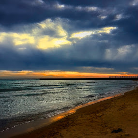 ORANGE REFLECTIONS, by Louis Perlia - Landscapes Beaches ( clouds, water, sand, hdr, color, sunset, art, reflections, beach, sunrise, sun )