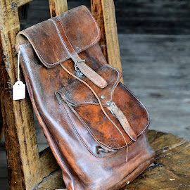 The bag by Heather Aplin - Artistic Objects Clothing & Accessories ( chair, old, wooden, wood, vintage, bag, satchel, lock, buckle, leather )