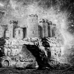 Castle of dreams by JCstudios by John Cuthbert - Mixed Media All Mixed Media ( wall art, studio, story, dream, vision, magical, jcstudios, fiction, canvas, castle, print, copy )