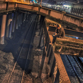 JuxDapoeS by Josh Swensen - City,  Street & Park  Street Scenes ( #train #tracks #night #street #underground #seattle #lights,  )