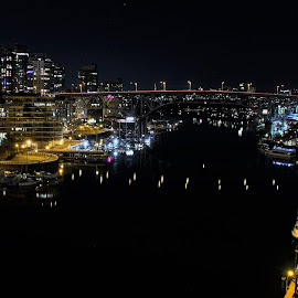 by Ryan Chornick - Buildings & Architecture Bridges & Suspended Structures ( night exposure, boats, marina, bridges, vancouver )