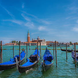 From Venice with Love! by Nitescu Gabriel - Transportation Boats ( water, europe, waterscape, boats, beautiful, architecture, boat, lanscapes, gondola, european, blue, lanscape, venice, castle, italy )