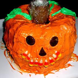 Double Bundt Pumpkin Cake by Rita Goebert - Food & Drink Candy & Dessert ( holiday cake; pumpkin; bundt pans; candy decorations; orange frosting; seasonal ideas; )