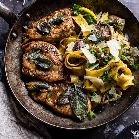 Browned Sage Butter Chicken Piccata with Mushroom Pasta.