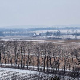 View from the top of Magnolia Bluff by Jason Lockhart - Landscapes Prairies, Meadows & Fields ( evansville, wisconsin, snow, magnolia bluff, rock county )