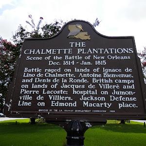 Scene of the Battle of New OrleansDec. 1814 - Jan. 1815Battle raged on lands of Ignace de Lino de Chalmette, Antoine Bienvenue, and Denis de la Ronde. British camps on lands of Jaques de Villeré ...
