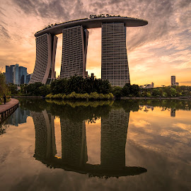 Marina Bay Sands by Gordon Koh - Buildings & Architecture Office Buildings & Hotels ( reflection, sunset, asia, marina bay sands, travel, singapore )