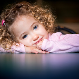 My Emma by Mike DeMicco - Babies & Children Child Portraits ( reflection, innocent, little, cute, pretty, portrait, eyes, child, love, curly, blonde, girl, sweet, blue, curls, adorable, smile, hair )