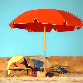 Summer Slumber Red Umbrella by Robin Amaral - City,  Street & Park  Neighborhoods ( sand, umbrella, beach towel, candid, beach, recliner, beach sand, beach chair, chair, blue sky, woman, casual, lifestyle, summer, red umbrella, summertime, stone wall )