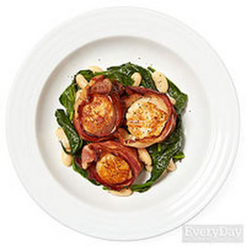 Bacon-Wrapped Scallops with Spinach & Beans