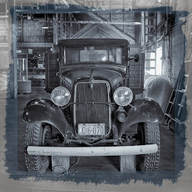 Enigmatic 1934 Ford V8 - B&W by Garry Dosa - Black & White Objects & Still Life ( toned cyan, old, b&w, truck, vintage, still life, black & white, enigmatic, antique )