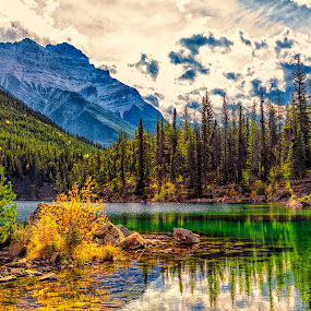 Horseshoe Lake and Mt. Kerkeslin by Drew May - Landscapes Mountains & Hills ( weather and seasons, canada, alberta, landscape images, drew may photo, landscape, drewmayphoto, sky, locations, fall, trees, drew may photography, jasper, jasper national park )