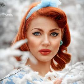 Red hair  by Cvetka Zavernik - People Portraits of Women ( fashion, winter, red hair, blue eyes, won 50 )