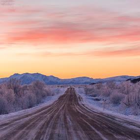 sunset road by Benny Høynes - Landscapes Sunsets & Sunrises ( winter, sunset, frozen, roads, norway )