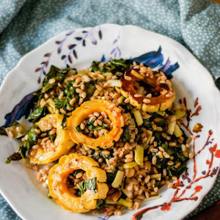 Roasted Delicata Squash, Kale, and Leeks with Farro